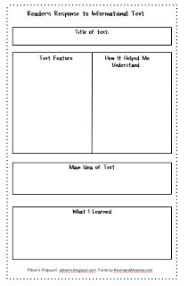 Pitner's Potpourri: Reader's Response for Informational Text - Freebie