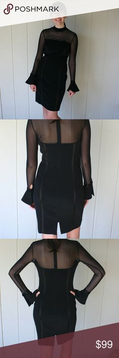 Vtg Oleg Cassini Little Black Cocktail Dress Sz 4 Black cocktail dress from the 80s, by Black Tie Oleg Cassini.  Above the knee Sheer netting chest, back, and long sleeves Bell or cone shaped buttoned cuffs Hidden zipper in back  Two strips of shiny black fabric down the front and back of each side. 5 inch slit at the back  Laying flat: Bust:  15 inches Collar seam to end of sleeve 26.5 in Shoulder seam to end of sleeve: 23.5 in Waist(approximate): 14 in Hips(approximate): 16 in Length: 36…