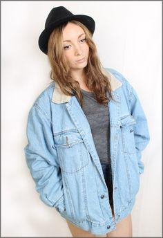 Vintage Oversized 90s Grunge Denim Jacket Size Large    http://www.ebay.co.uk/itm/130735772767?ssPageName=STRK:MESELX:IT&_trksid=p3984.m1555.l2649    #fashion #vintage #style