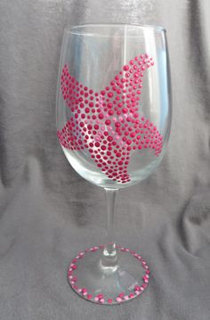 Hand Painted Starfish Wine Glass by TheeSpottedOwl on Etsy, $10.00