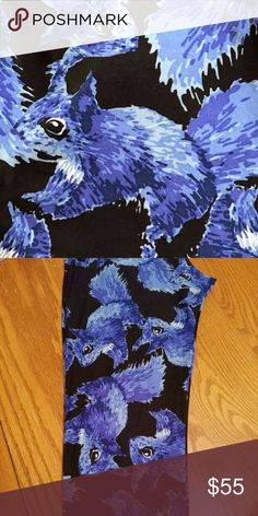 LuLaRoe TC BLUE SQUIRRELS leggings Brand new with or with tag. TC tall and curvy (fits most 12-22) squirrel leggings. Black background.  Blue squirrels. Super cute, hard to find, popular print.  *I am NOT a LuLaRoe consultant. Just an addict who loves to hunt for great prints.* LuLaRoe Pants Leggings
