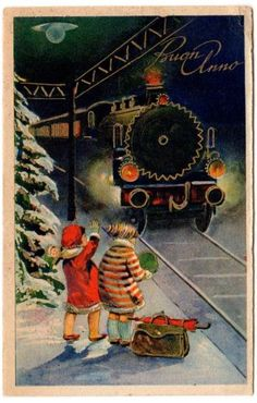 come here dear  mind the gap  baby    the train wind  will suck you in  send pop bottles to flying    Antique Postcard 1940s Italian New Year Greeting Kids Train  by SandyCreekCollectables for $6.00