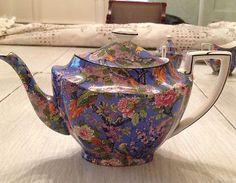 RARE Crown Ducal Blue Chintz Teapot | eBay