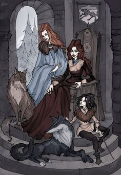 Catelyn Stark with her daughters Sansa and Arya, their direwolfs Lady and Nymeria   Pigmented ink liner, watercolor and a bit of Photoshop Find me on facebook