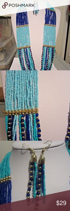 """Layered Multi blue Li=ong Necklace earring set Multi Layers/ Multi Blue/ Navy Blue/ Glass Seed Bead/ Small Gold Tone Bead/ Chunky/Gold Tone Finish/ Lead Free/ Necklace With Matching Earring/28"""" Long With A 3"""" Extension . Jewelry Necklaces"""