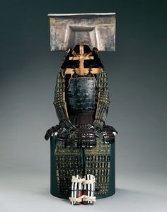 Important Cultural Property, Ichinotani form helmet, dō-maru armor, Momoyma Period (late 16th century). One of the armors of a primary Fukuoka lord, Nagamasa Kuroda.