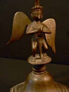 Soulful VINTAGE INDIAN BRONZE Hindu Deity Guardian Angel  Statue