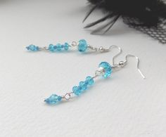 Turquoise Crystal Earrings Silver and Deep Lake by NoDittoDesign