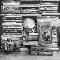 Flying between books / Volando entre libros (ilustración de Ethan Murrow)