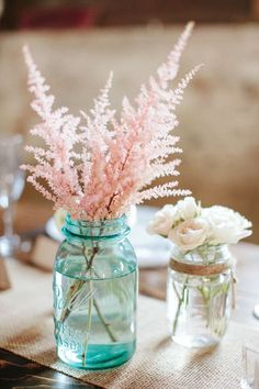 Pink astilbe in blue mason jar / add soft burlap tie at mouth of jar and do fuller bunches of astilbe (add some white, as well)