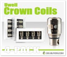 Uwell Crown Replacement Coils (4-Pack) – $10.76: http://www.cigbuyer.com/uwell-crown-tank-replacement-coils/ #vaping #subohm #subtank #uwell #uwellcrown #crowntank #vapelife #vapedeals