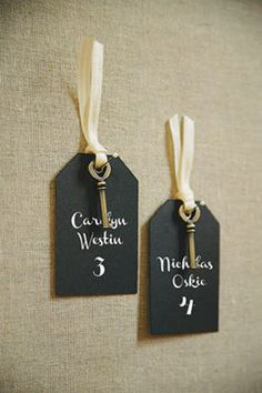 Michaels.com Wedding Department: BRIDES� Vintage Key Escort Tags Using keys as escort cards is one of the most common ways to use keys at weddings {and no wonder, it�s a FABULOUS idea!} This easy project will make a big impact at your wedding.