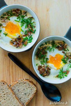 Oeufs Cocotte au Jambon Cru et aux Champignons - Food for Love: