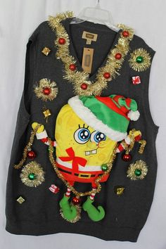 Ugly Tacky Christmas Sweater Vest Men's Size by DebsTackySweaters