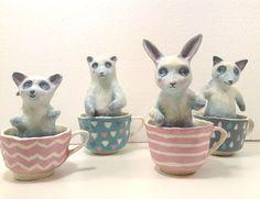 Animals Teacups Papier Mache Artist in La La Land