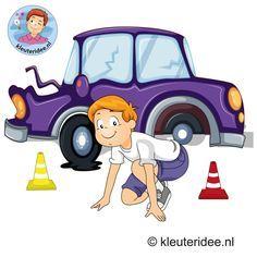 Gymles voor kleuters, thema pech onderweg, kleuteridee School Clipart, Reggio Emilia, Transportation, Preschool, Garage, Family Guy, Clip Art, Teaching, Education