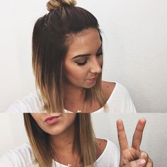 Short ombré hair, top knot bun....when I chop my hair I'm doing exactly this...love it!!