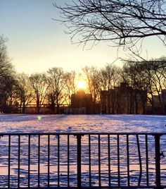 Sunrise over the snowy track field at Jefferson Park - East Harlem-NYC, NY