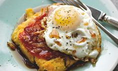 Yotam Ottolenghi's polenta 'hash' with fried egg and beef gravy: An irresistible way to start your day. Photograph: Colin Campbell for the Guardian. Food styling: Claire Ptak