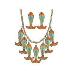 MARGOT Vintage Mexican Enamel Fish Necklace & Earring Set   From a unique collection of vintage more necklaces at https://www.1stdibs.com/jewelry/necklaces/more-necklaces/