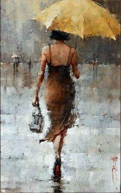 Le Parapluie Jaune, series : x – Andre Kohn Fine Art Gallery Umbrella Art, Yellow Umbrella, Figure Painting, Painting Art, Daisy Painting, Painting Classes, Knife Painting, Painting Flowers, Portrait Art