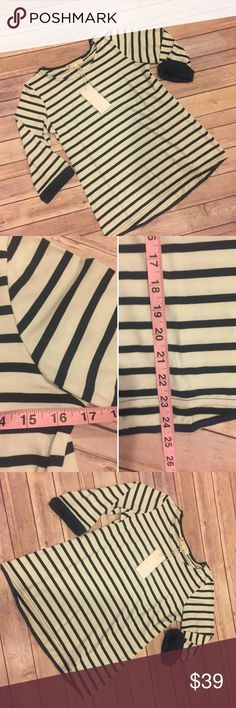 Large - XL striped 3/4 sleeve top Super cute striped top with 3/4 cuffed sleeves. Measurements for large pictured, size up if you want a looser fit. Dark teal and white and it's nice and thick material! NWT! Tops Tees - Long Sleeve