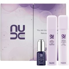 Nude You Are More Beautiful Nude Natural Radiance Set featuring Perfect Cleansing Oil Face and Eyes, Radiant Day Moisturiser and ProGenius Treatment Oil #SkincareIQ #Sephora #skincare #packaging #embalage #design #cosmetic #beautypack #beautypackaging