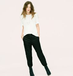 """Introducing a new line of easy, texture-rich pieces for your every day. Sporty luxe - from the buttery washed suede to edgy ankle zips - this elevated take on a classic Lou & Grey silhouette is a must-have. A designer favorite. Elasticized drawstring waist. Slash pockets. Back welt pockets. Ankle zips. 27"""" inseam."""