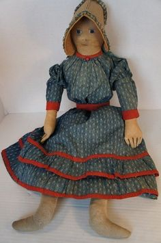 "25"" antique linen doll with hand painted face C.1870 (item #1192679, detailed views)"