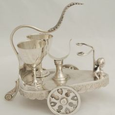 VICTORIAN QUADRUPLE PLATE AESTHETIC RACINE SILVER CO EGG STAND NAPKIN  ROMAN CHARIOT & BARE BREASTED WOMAN :O
