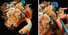 Artist, illustrator, and designerLisa Ericson(previously) paints hyperrealistic images of imaginary animals, hybrids that intertwine species. Previously focused on a body of work that merged mice and butterflies, Ericson's newest series focuses on the creatures below, painting bright fish against