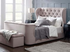 Cadence Upholstered High Footboard Bed living it up