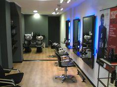 LOVE the Idea but white special lighting. Barber Shop Interior, Barber Shop Decor, Hair Salon Interior, Salon Interior Design, Salon Design, Home Hair Salons, Home Salon, Small Beauty Salon Ideas, Makeup Studio Decor