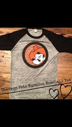 Orange OK state scarf   Oklahoma State University - Pistol Pete burnout baseball tee. By ...