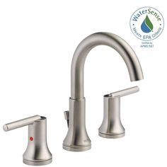 Delta Trinsic 8 in. Widespread 2-Handle Bathroom Faucet with Metal Drain Assembly in Stainless