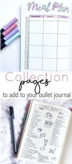 Huge list of collection pages for your bullet journal