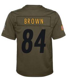 f52562434cb Nike Antonio Brown Pittsburgh Steelers Salute To Service Jersey, Big Boys  (8-20) - Green L