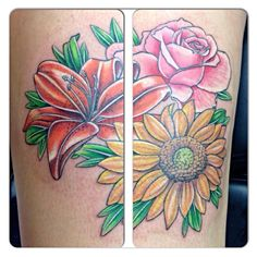 Color tattoo flowers  Roses sunflowers