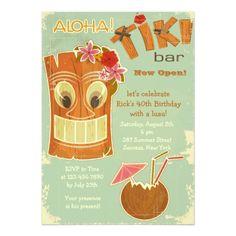 Luau Birthday Party Invitations Tiki Bar Invitation