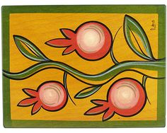 Kakadu Designs - hand painted furniture and unique gifts made in Israel.  Climbing Pomegranate place mat