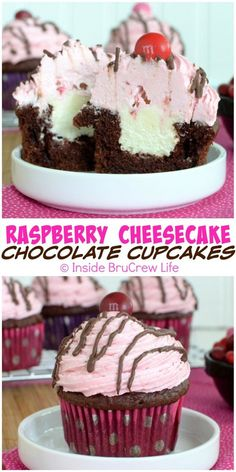 Raspberry Cheesecake Chocolate Cupcakes