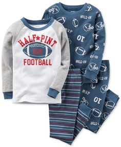 Sporty style for your future all-star starts with this four-piece Carter's pajama set, featuring two tops and two bottoms with a playful football theme. | Cotton | Machine washable | Imported | Includ