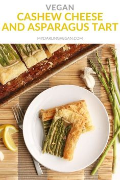 Make any holiday special with this Vegan Cashew Cream and Asparagus Tart. Made with puff pastry for a delicious and decadent side dish for your holiday table. #mydarlingvegan #cashewcream #vegantart #asparagus #puffpastry #vegansidedish #veganholiday Easy Vegan Dinner, Fall Dinner Recipes, Spring Recipes, Thanksgiving Recipes, Vegan Asparagus Recipes, Asparagus Tart, Vegan Recipes, Vegan Meals, Savoury Pastry Recipe