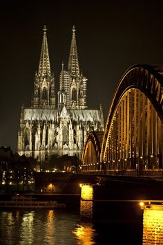 "The Cologne Cathedral ""Kölner Dom"" is one of the architectural masterpieces of mankind. Declared a World Cultural Heritage Site as a perfect example of Gothic construction, the Cologne Cathedral is. Places Around The World, Oh The Places You'll Go, Places To Travel, Places To Visit, Around The Worlds, Voyage Europe, Belle Villa, Place Of Worship, Kirchen"