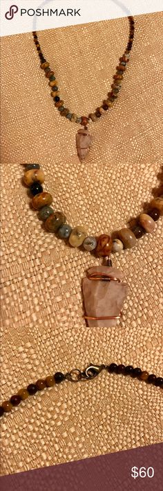 Handmade Arrowhead Stone Bead Necklace Photos do not do this necklace justice!! Authentic wire-wrapped arrowhead with real stone. Earth tones to compliment any outfit 🌞 Handmade by me 💖 Make a bundle, get a deal!!! *Lucky Brand for exposure* Lucky Brand Jewelry Necklaces