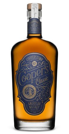 Pavement, the San Francisco creative and design studio, developed the packaging for Cooper's Classic, a whisky named for author James Fenimore Cooper. Beverage Packaging, Bottle Packaging, Bourbon, The Distillers, Whiskey Label, Scotch Whiskey, Spiritus, Liquor Bottles, Rum Bottle