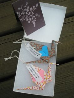 Origami Wedding Favors (fold 1000 to symbolize patience necessary for marriage to succeed)