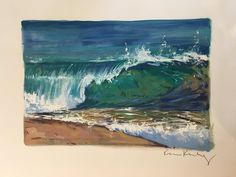"""Wave on Sand"" Oil on Paper — Wade Koniakowsky Gouache Painting, Oil Paintings, Ocean Waves, Watercolor Paper, Beautiful Gardens, Art Inspo, Art Drawings, Art Pieces, Wall Art"