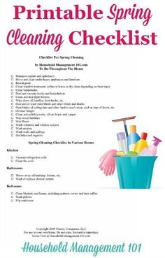 Free #printable spring cleaning checklist, courtesy of Household Management 101 #SpringCleaning #CleaningChecklist Spring Cleaning Checklist, Deep Cleaning Tips, House Cleaning Tips, Cleaning Hacks, Speed Cleaning, Cleaning Lists, Cleaning Schedules, Weekly Cleaning, Organizing Tips