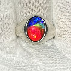 Ammolite Oval Ring Sterling Silver 38SMR$299.99#ammolite #korite #ammonite #fengshui #canada #canadagems #canadianammolite #gemstones #jewelry #jewelryaddict #photooftheday #jewelryoftheday #jewelrygram #colorful #gem #gems #opal #minerals #natureinspired #rainbow #alberta #fossil #Alaska #followersofinstagram #isellrocks #art #handmade #lapidary #madeinmontana #ammolite #ammolitejewelry